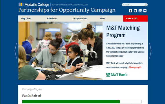 Medaille College Giving Campaign website