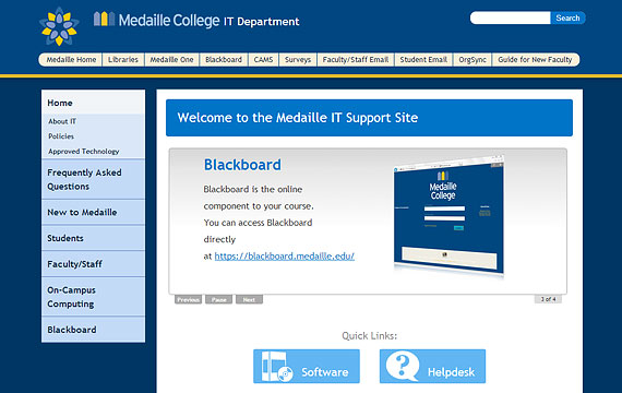 Medaille Colleg Information Technology website